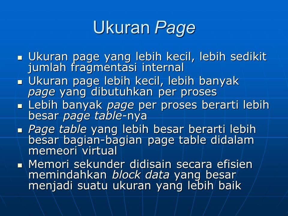 Ukuran Page Ukuran page yang lebih kecil, lebih sedikit jumlah fragmentasi internal.
