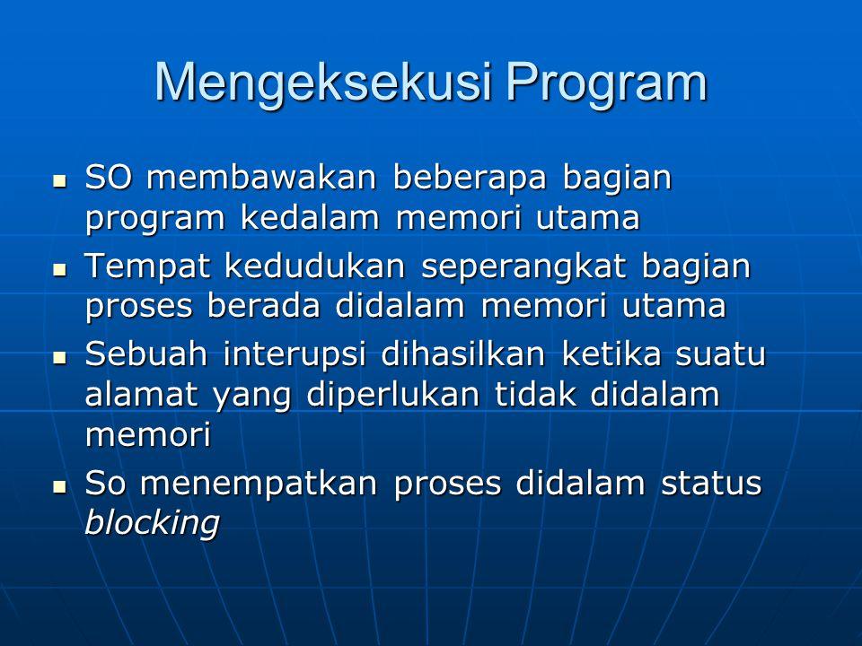 Mengeksekusi Program SO membawakan beberapa bagian program kedalam memori utama.