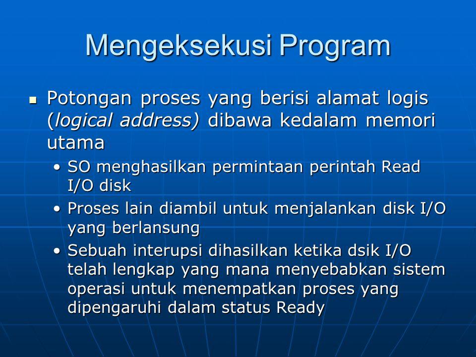 Mengeksekusi Program Potongan proses yang berisi alamat logis (logical address) dibawa kedalam memori utama.