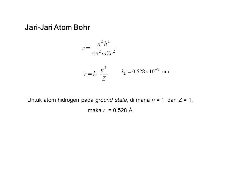 Untuk atom hidrogen pada ground state, di mana n = 1 dan Z = 1,