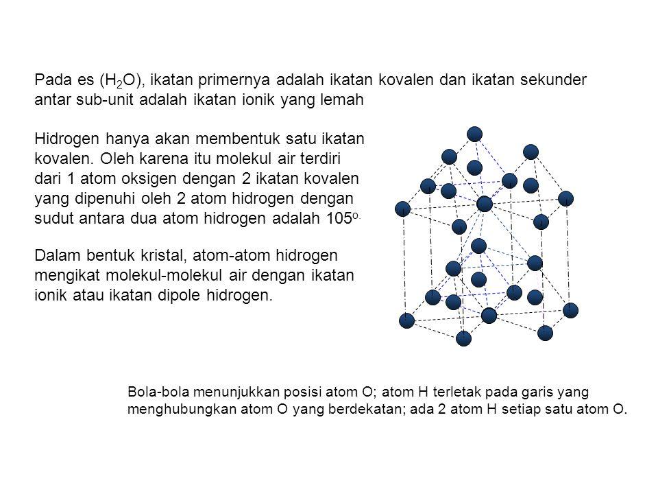 Pada es (H2O), ikatan primernya adalah ikatan kovalen dan ikatan sekunder antar sub-unit adalah ikatan ionik yang lemah