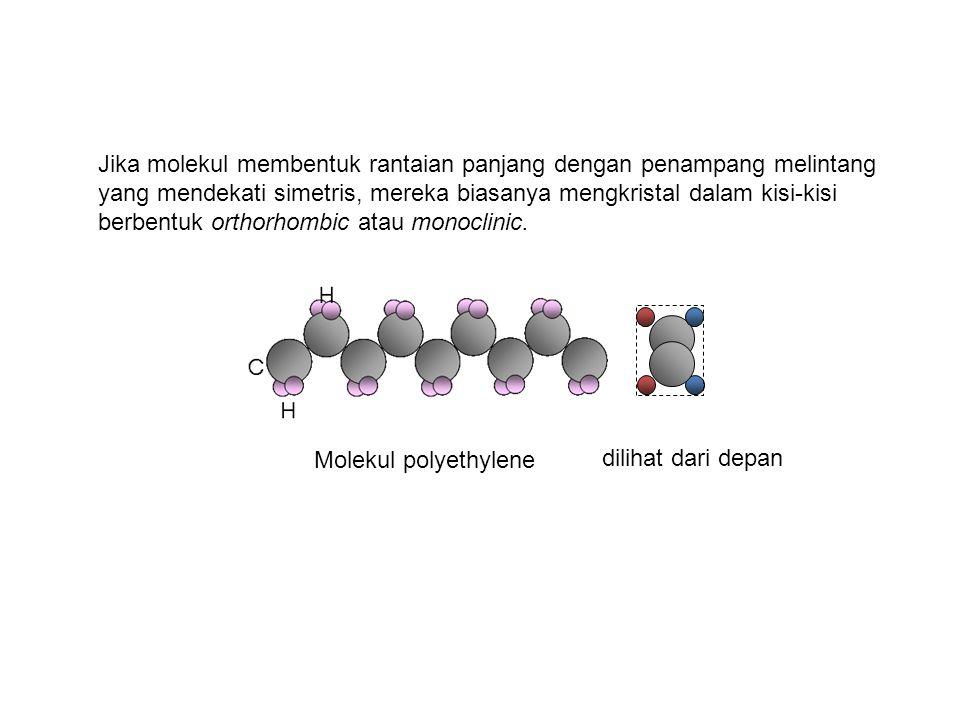 Jika molekul membentuk rantaian panjang dengan penampang melintang yang mendekati simetris, mereka biasanya mengkristal dalam kisi-kisi berbentuk orthorhombic atau monoclinic.