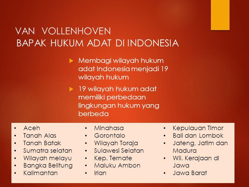 BAPAK HUKUM ADAT DI INDONESIA