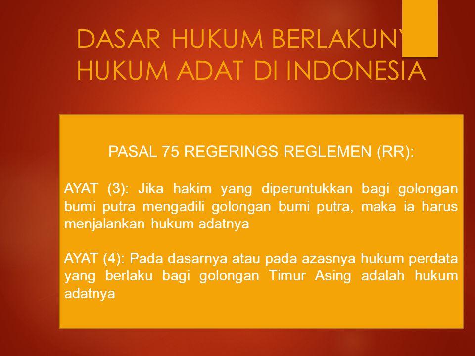 DASAR HUKUM BERLAKUNYA HUKUM ADAT DI INDONESIA