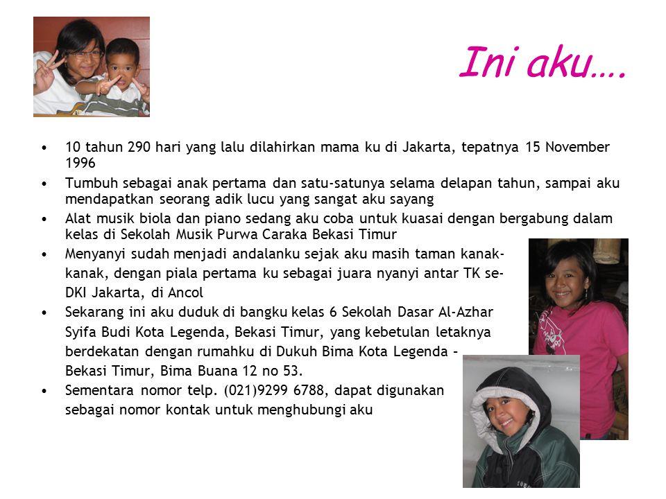 Ini aku…. 10 tahun 290 hari yang lalu dilahirkan mama ku di Jakarta, tepatnya 15 November 1996.