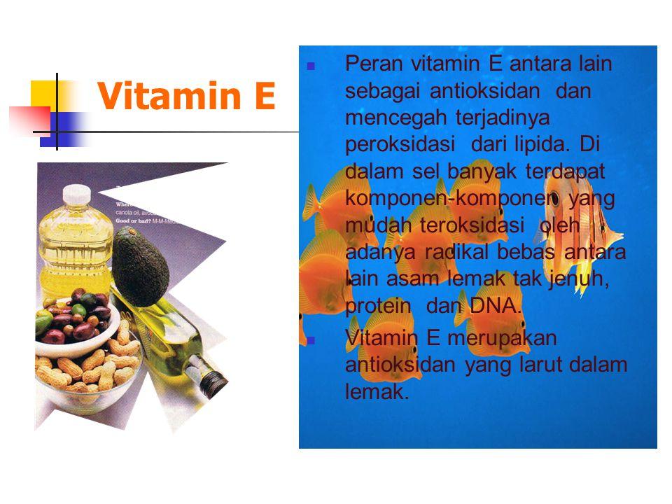 Peran vitamin E antara lain sebagai antioksidan dan mencegah terjadinya peroksidasi dari lipida. Di dalam sel banyak terdapat komponen-komponen yang mudah teroksidasi oleh adanya radikal bebas antara lain asam lemak tak jenuh, protein dan DNA.