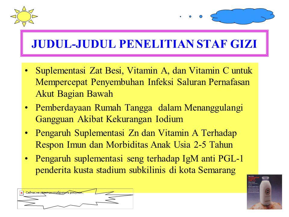 JUDUL-JUDUL PENELITIAN STAF GIZI