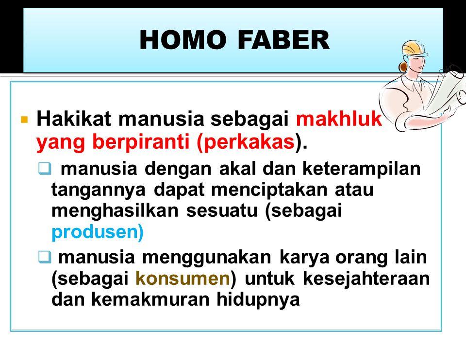HOMO FABER Hakikat manusia sebagai makhluk yang berpiranti (perkakas).