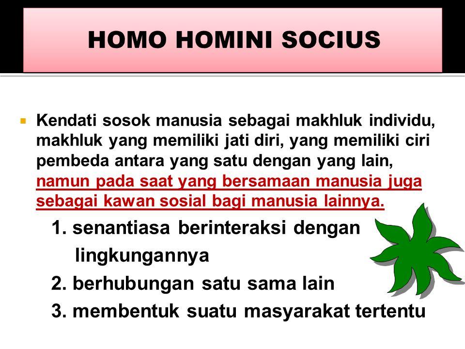 HOMO HOMINI SOCIUS 1. senantiasa berinteraksi dengan lingkungannya