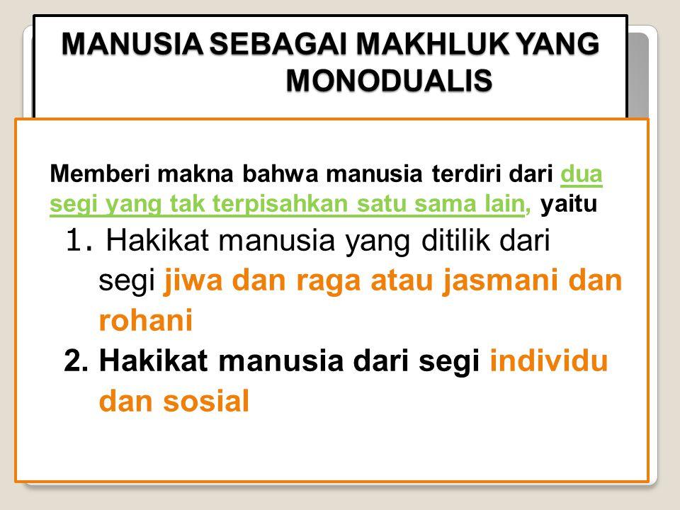 MANUSIA SEBAGAI MAKHLUK YANG MONODUALIS