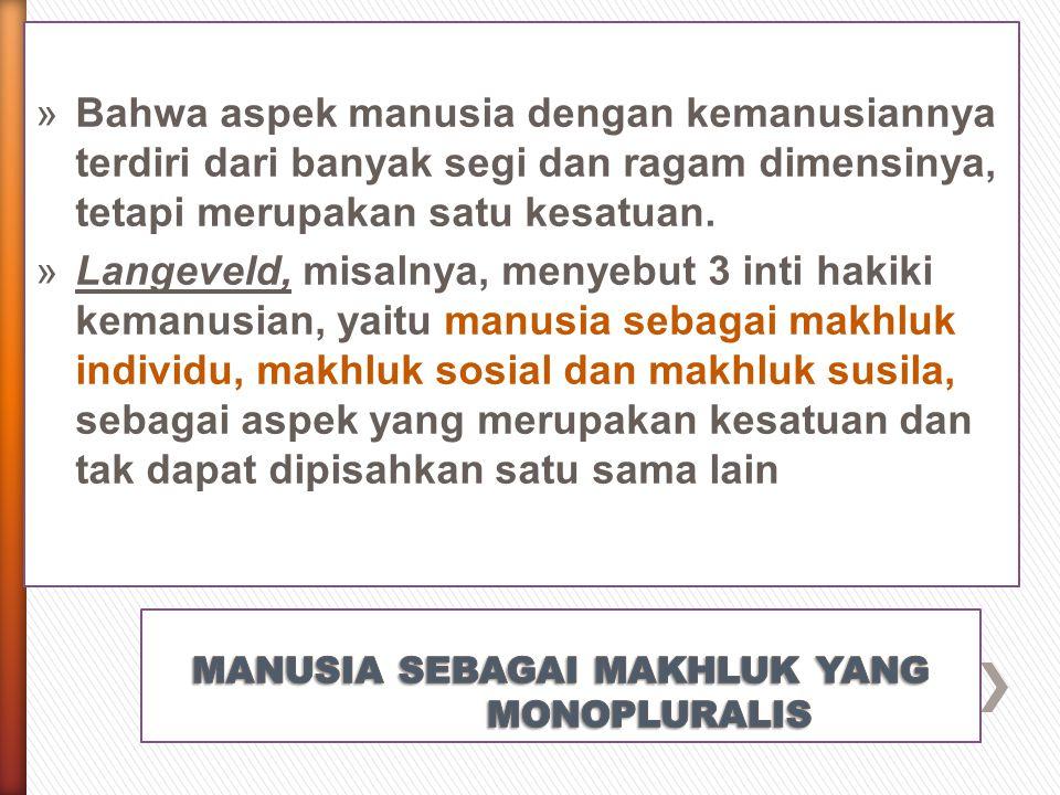 MANUSIA SEBAGAI MAKHLUK YANG MONOPLURALIS