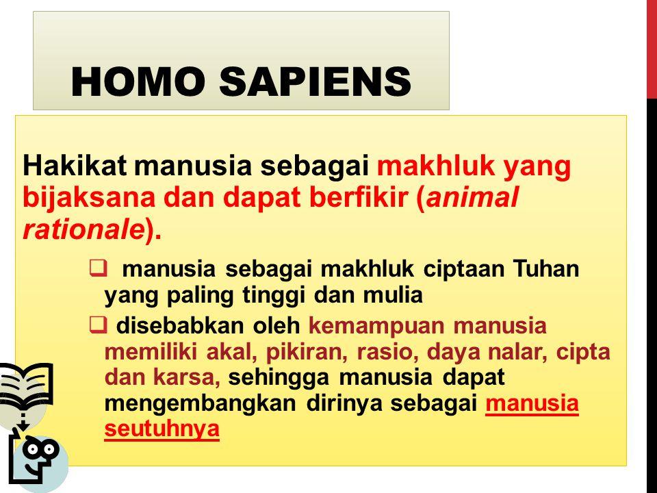 HOMO SAPIENS Hakikat manusia sebagai makhluk yang bijaksana dan dapat berfikir (animal rationale).