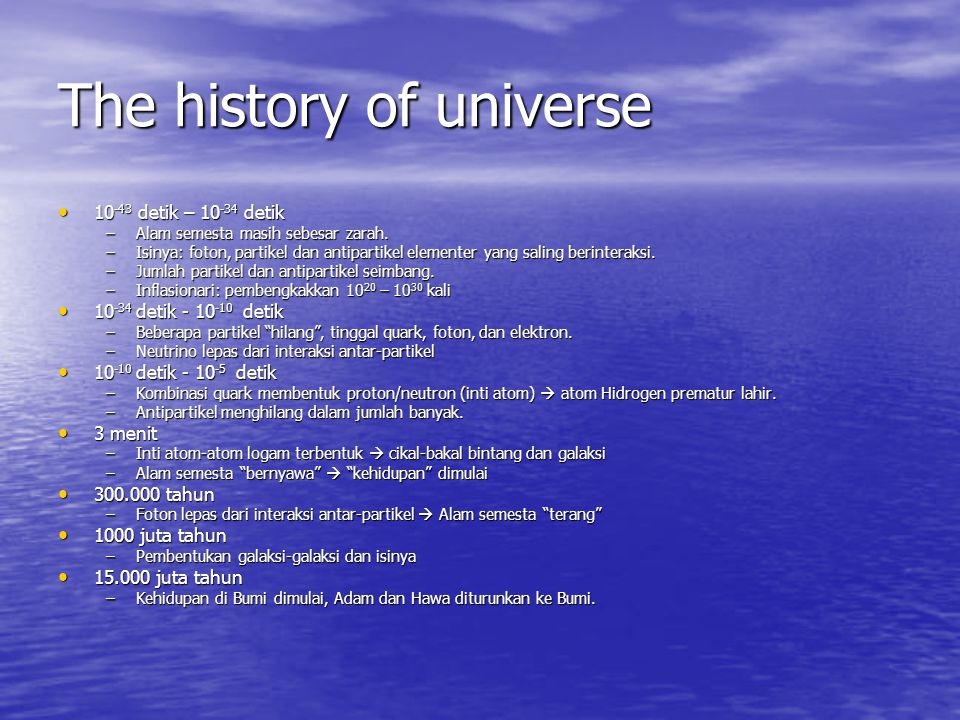 The history of universe