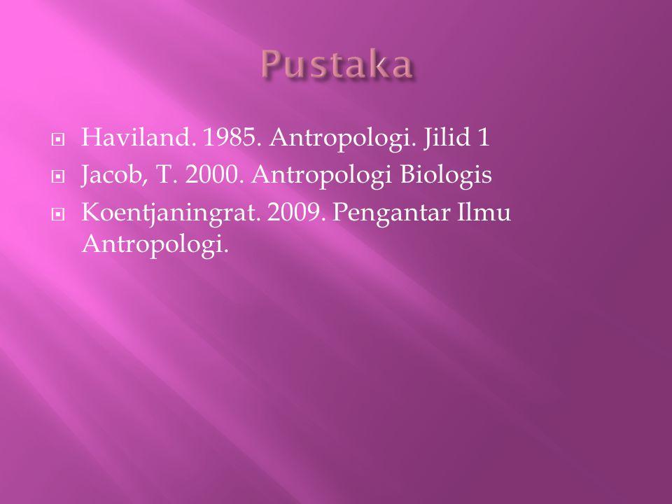 Pustaka Haviland. 1985. Antropologi. Jilid 1