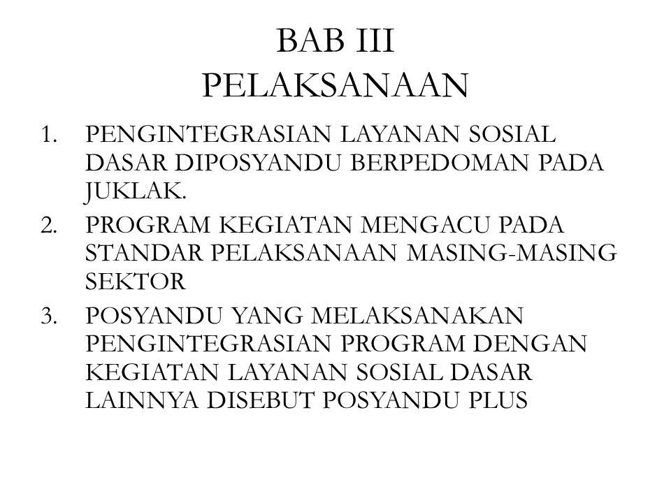 BAB III PELAKSANAAN PENGINTEGRASIAN LAYANAN SOSIAL DASAR DIPOSYANDU BERPEDOMAN PADA JUKLAK.