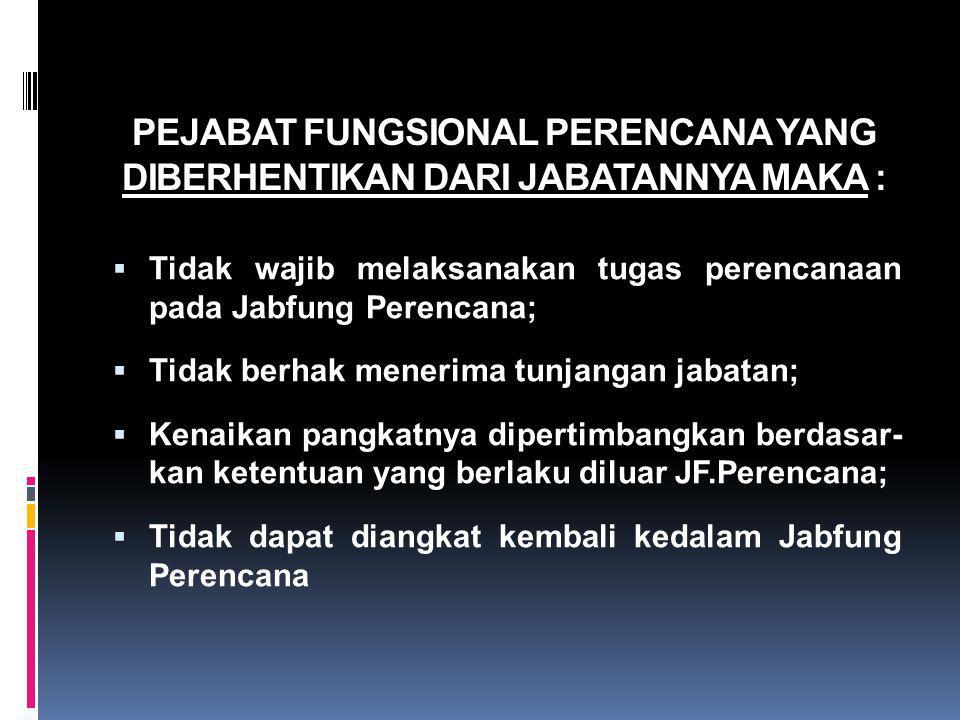 PEJABAT FUNGSIONAL PERENCANA YANG DIBERHENTIKAN DARI JABATANNYA MAKA :