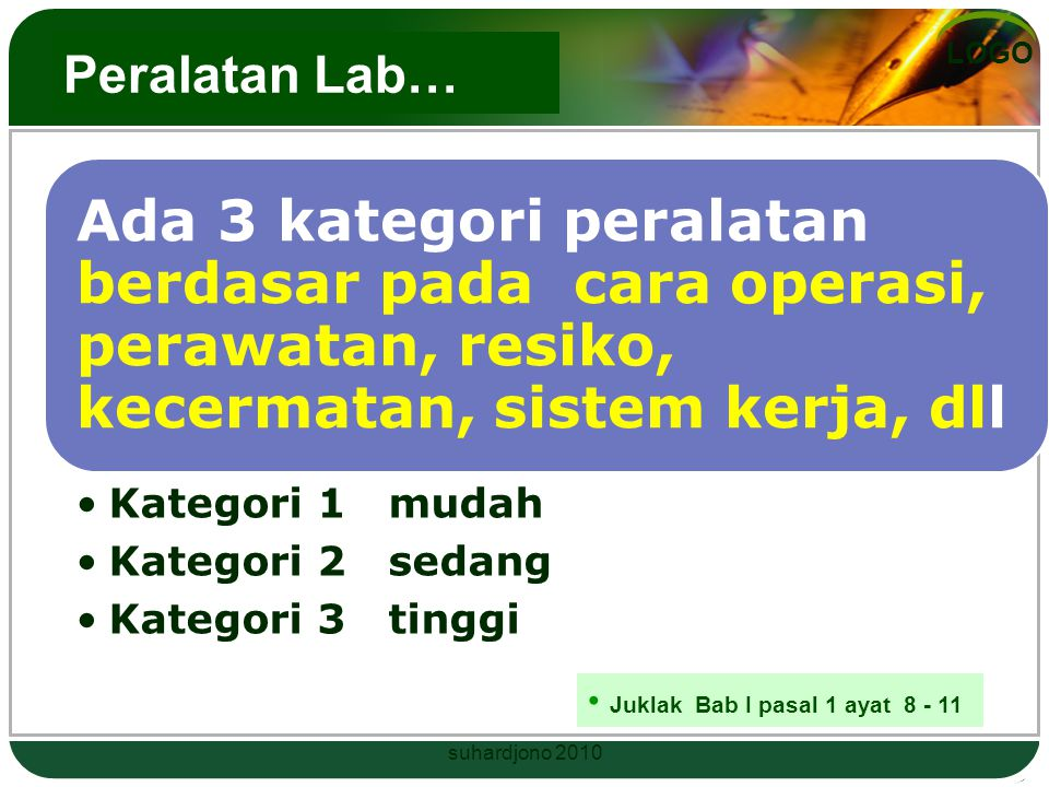 Peralatan Lab… Kategori 1 mudah Kategori 2 sedang Kategori 3 tinggi