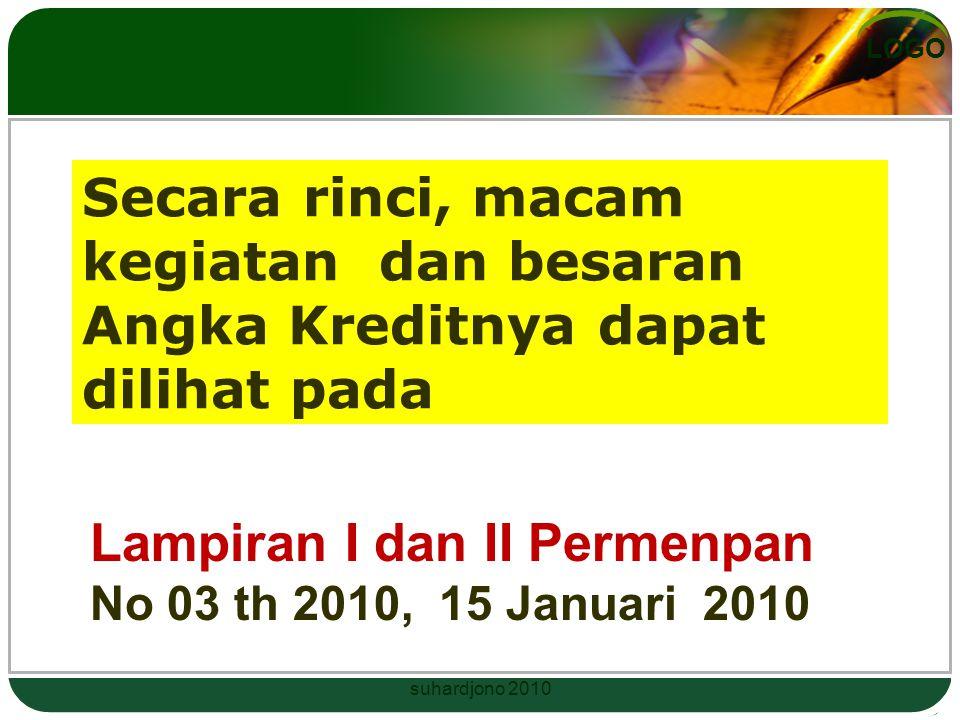 Lampiran I dan II Permenpan No 03 th 2010, 15 Januari 2010
