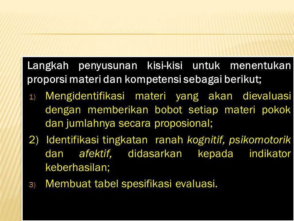 Langkah penyusunan kisi-kisi untuk menentukan proporsi materi dan kompetensi sebagai berikut;
