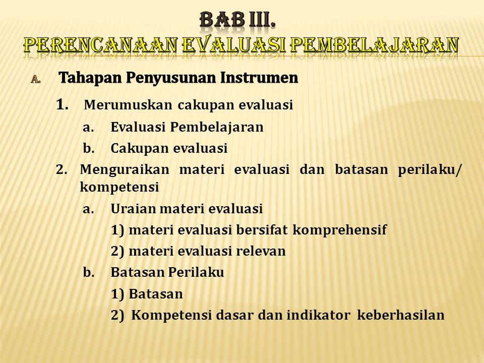 BAB III. PERENCANAAN EVALUASI PEMBELAJARAN