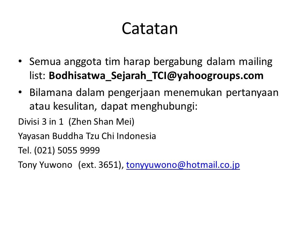 Catatan Semua anggota tim harap bergabung dalam mailing list: Bodhisatwa_Sejarah_TCI@yahoogroups.com.