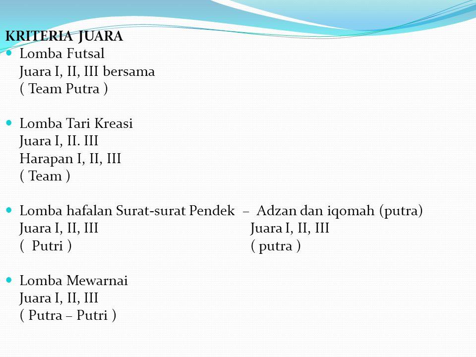 KRITERIA JUARA Lomba Futsal. Juara I, II, III bersama. ( Team Putra ) Lomba Tari Kreasi. Juara I, II. III.
