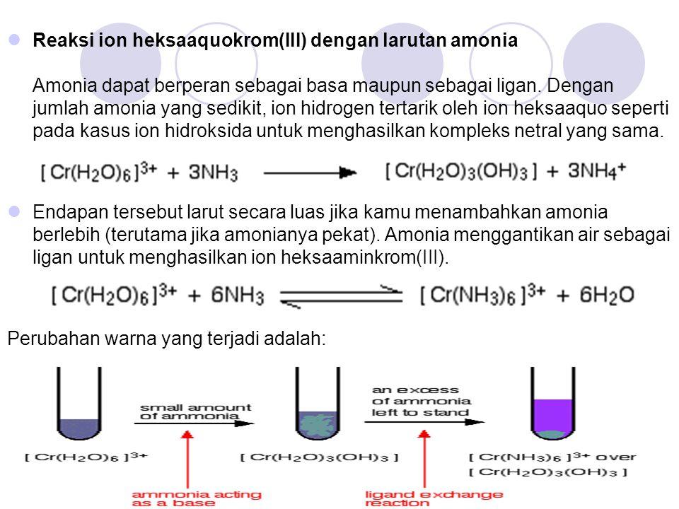 Reaksi ion heksaaquokrom(III) dengan larutan amonia Amonia dapat berperan sebagai basa maupun sebagai ligan. Dengan jumlah amonia yang sedikit, ion hidrogen tertarik oleh ion heksaaquo seperti pada kasus ion hidroksida untuk menghasilkan kompleks netral yang sama.