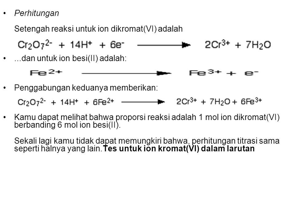 Perhitungan Setengah reaksi untuk ion dikromat(VI) adalah