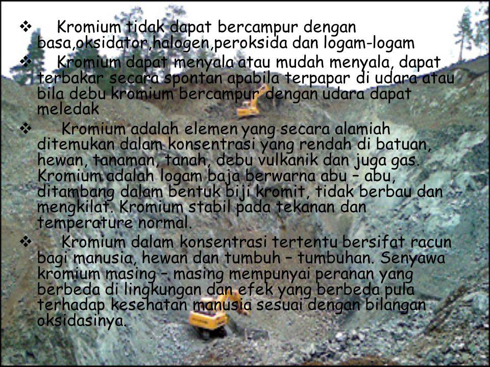 Kromium tidak dapat bercampur dengan basa,oksidator,halogen,peroksida dan logam-logam