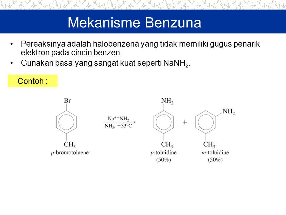 Mekanisme Benzuna Pereaksinya adalah halobenzena yang tidak memiliki gugus penarik elektron pada cincin benzen.