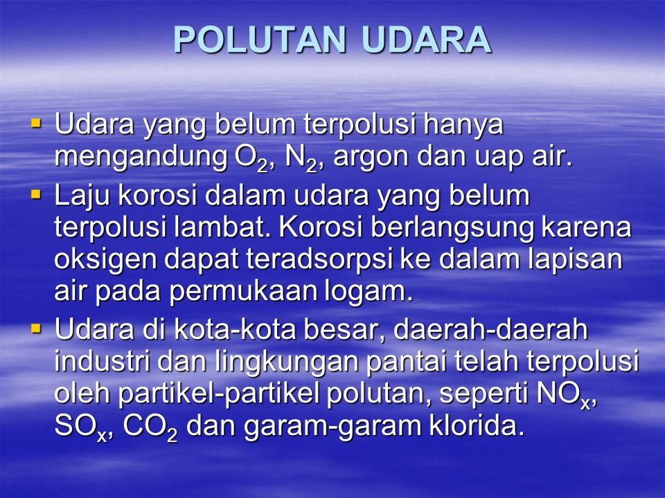 POLUTAN UDARA Udara yang belum terpolusi hanya mengandung O2, N2, argon dan uap air.