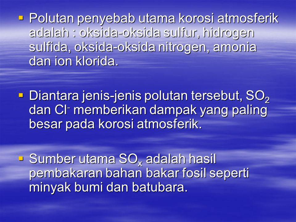 Polutan penyebab utama korosi atmosferik adalah : oksida-oksida sulfur, hidrogen sulfida, oksida-oksida nitrogen, amonia dan ion klorida.