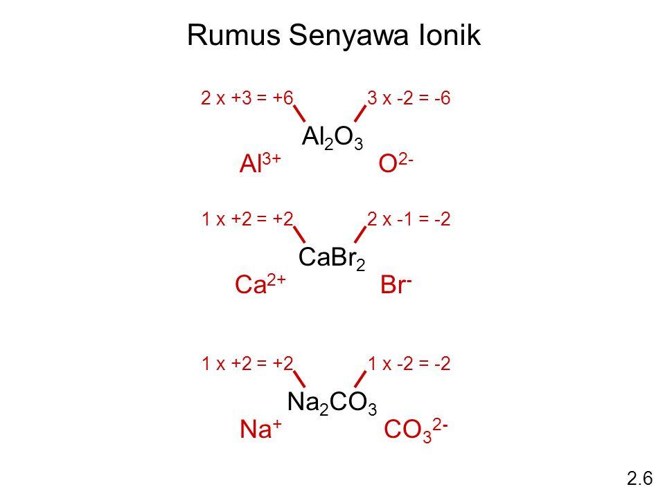 Rumus Senyawa Ionik Al2O3 Al3+ O2- CaBr2 Ca2+ Br- Na2CO3 Na+ CO32-