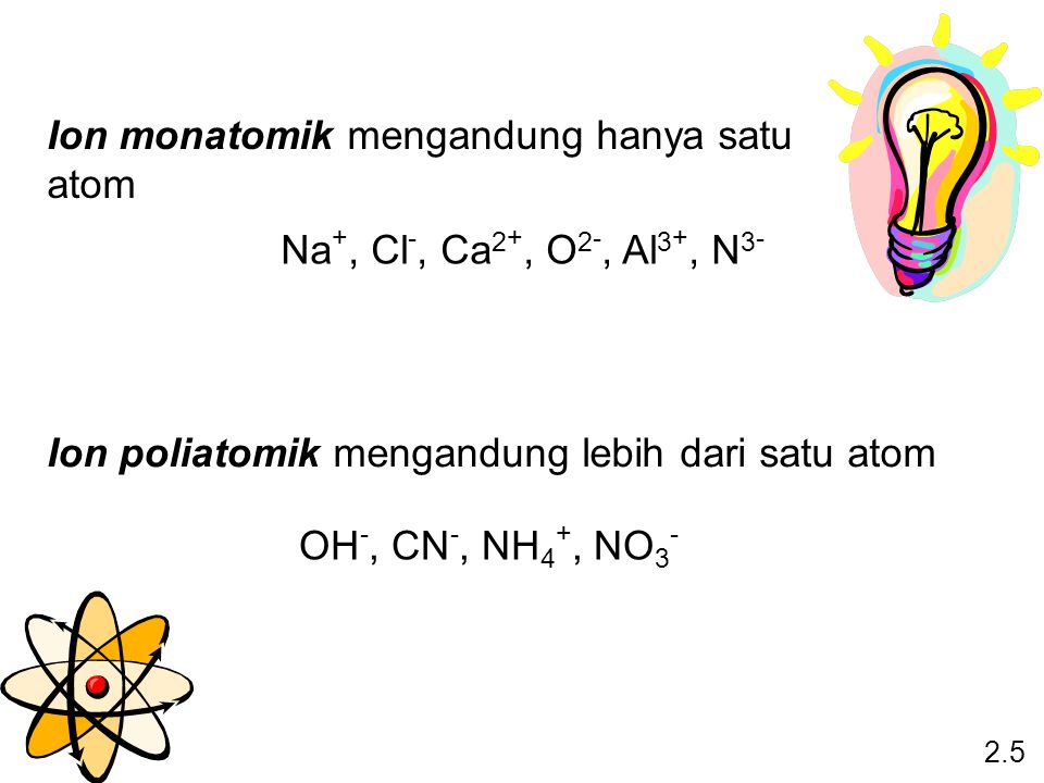 Ion monatomik mengandung hanya satu atom