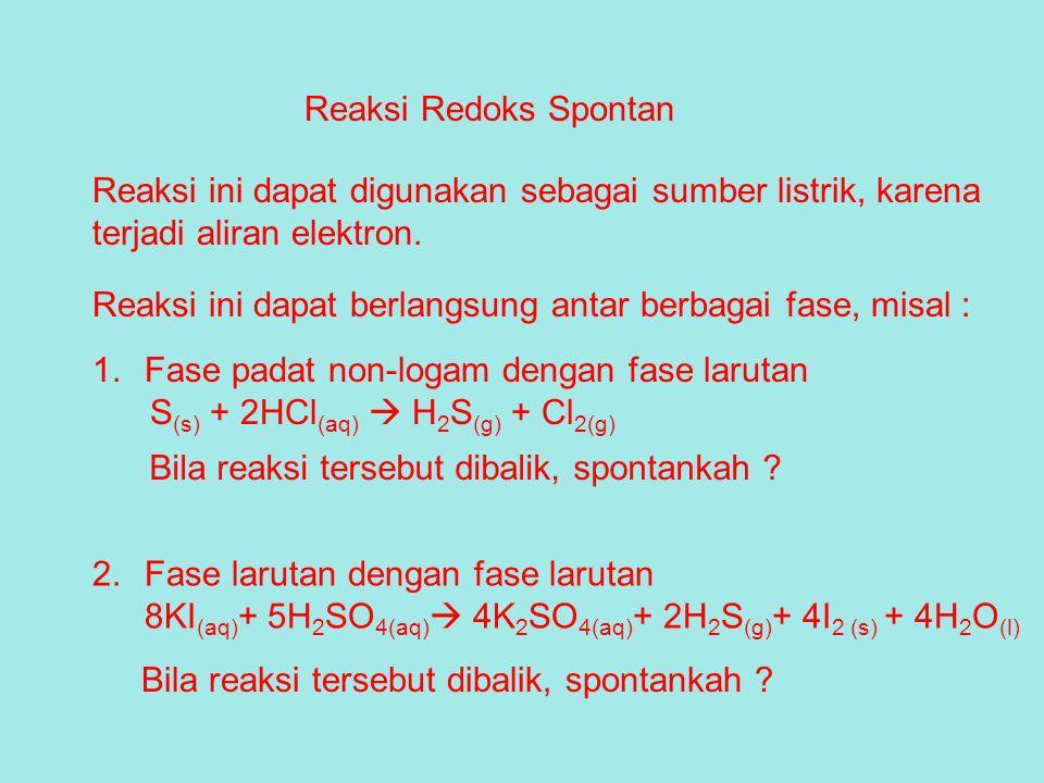 Reaksi Redoks Spontan Reaksi ini dapat digunakan sebagai sumber listrik, karena. terjadi aliran elektron.