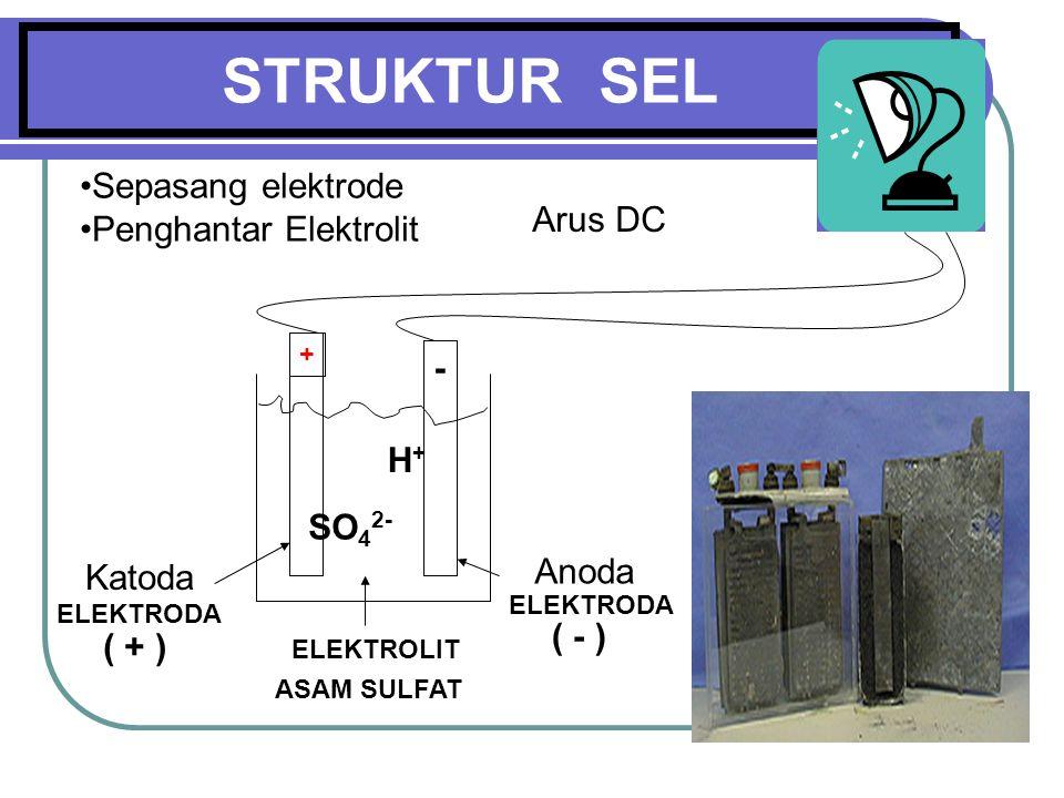 STRUKTUR SEL Sepasang elektrode Penghantar Elektrolit Arus DC - H+