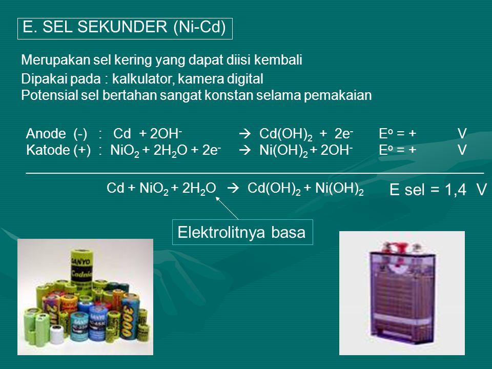 E. SEL SEKUNDER (Ni-Cd) E sel = 1,4 V Elektrolitnya basa