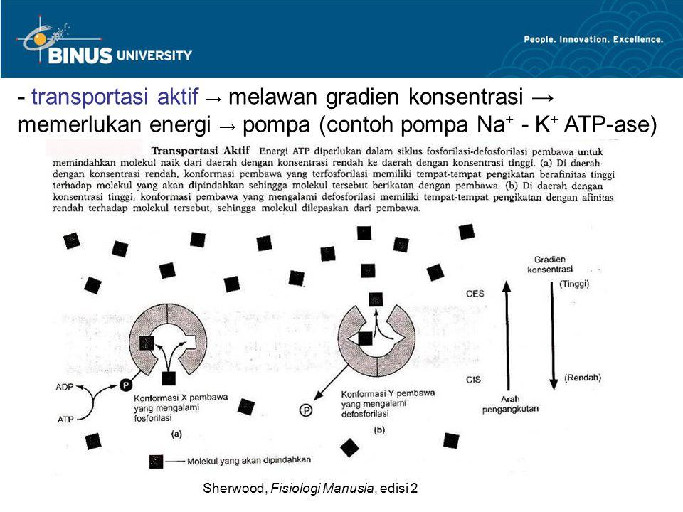 - transportasi aktif → melawan gradien konsentrasi → memerlukan energi → pompa (contoh pompa Na+ - K+ ATP-ase)