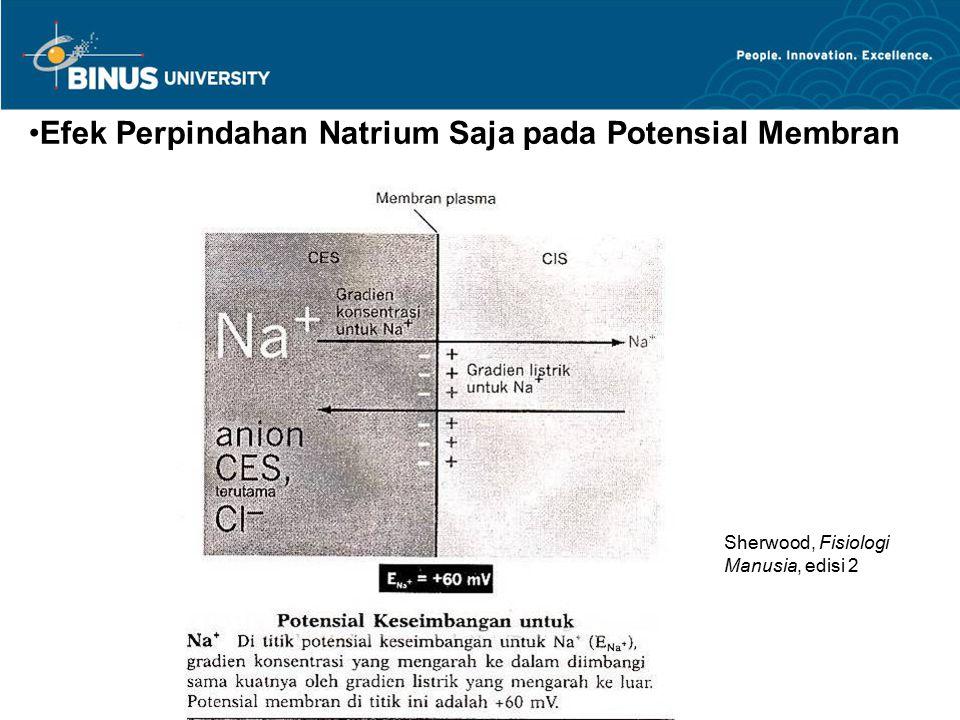 Efek Perpindahan Natrium Saja pada Potensial Membran