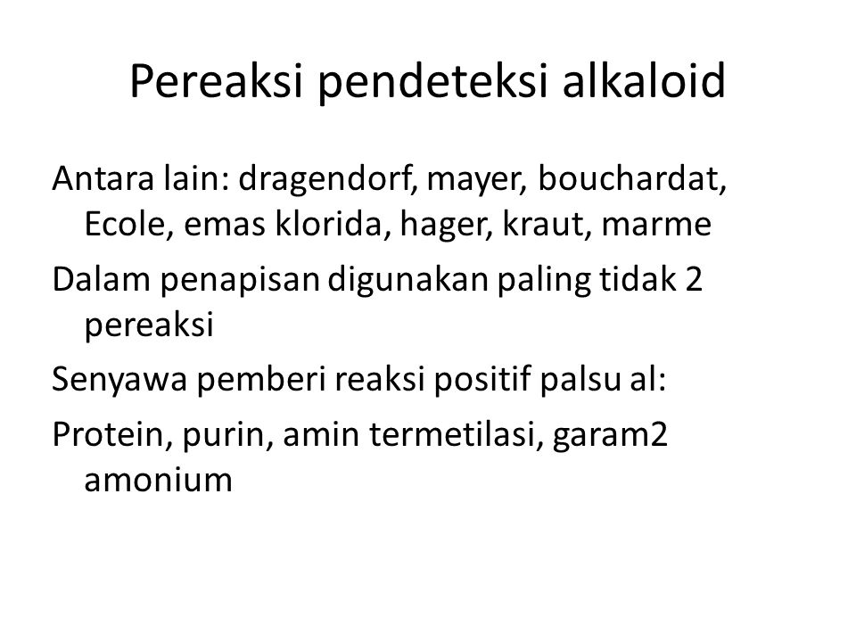 Pereaksi pendeteksi alkaloid