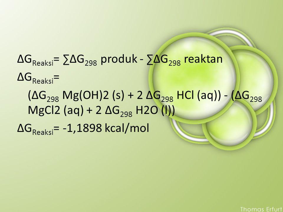 ΔGReaksi= ∑ΔG298 produk - ∑ΔG298 reaktan ΔGReaksi= (ΔG298 Mg(OH)2 (s) + 2 ΔG298 HCl (aq)) - (ΔG298 MgCl2 (aq) + 2 ΔG298 H2O (l)) ΔGReaksi= -1,1898 kcal/mol