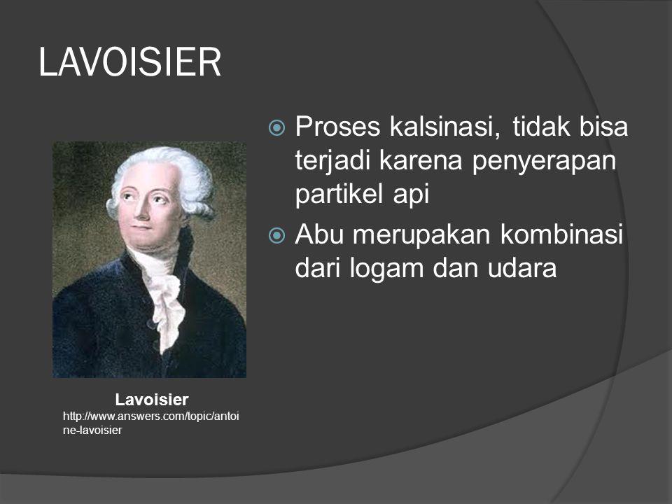 LAVOISIER Proses kalsinasi, tidak bisa terjadi karena penyerapan partikel api. Abu merupakan kombinasi dari logam dan udara.