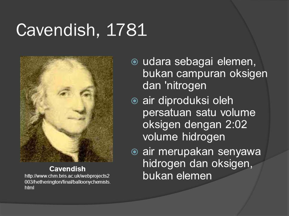 Cavendish, 1781 udara sebagai elemen, bukan campuran oksigen dan nitrogen.