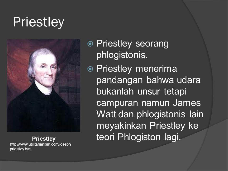 Priestley Priestley seorang phlogistonis.
