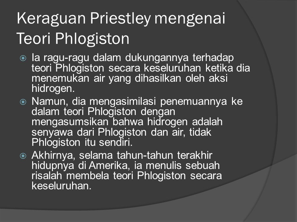 Keraguan Priestley mengenai Teori Phlogiston