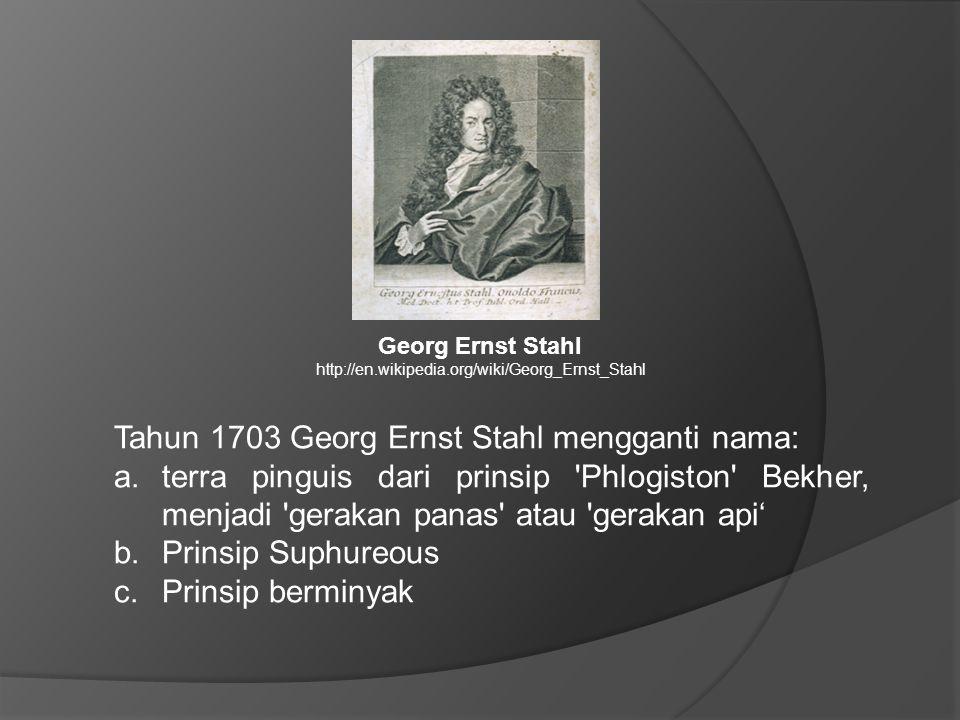 Tahun 1703 Georg Ernst Stahl mengganti nama: