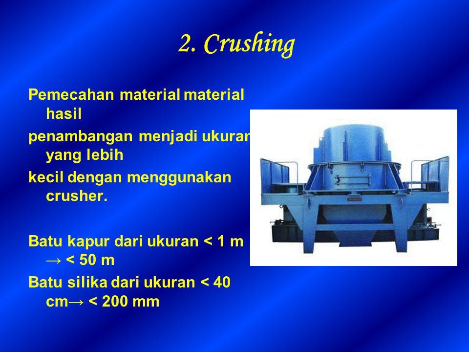 2. Crushing Pemecahan material material hasil