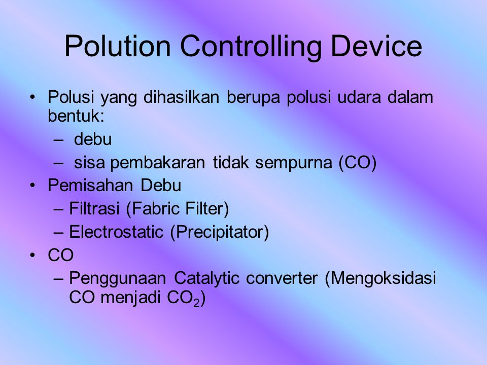 Polution Controlling Device