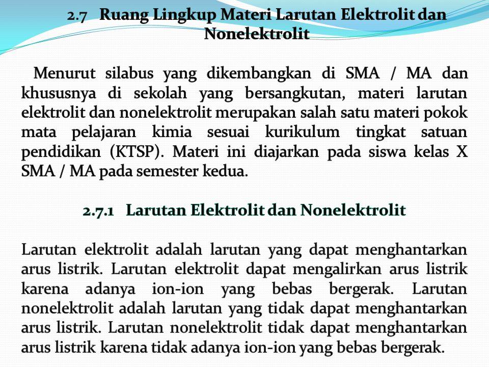 2.7.1 Larutan Elektrolit dan Nonelektrolit