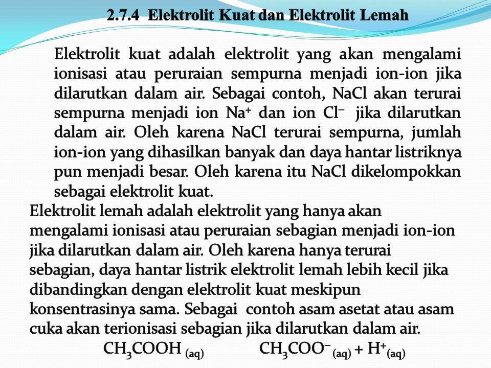 2.7.4 Elektrolit Kuat dan Elektrolit Lemah
